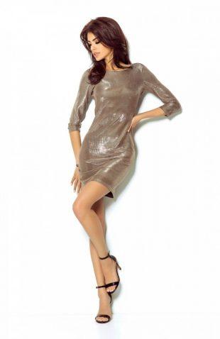 Elegancka połyskująca sukienka na przyjęcia złota