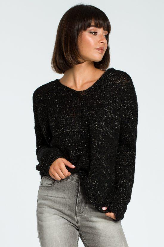 Ciepły miękki sweter ze złotą nitką