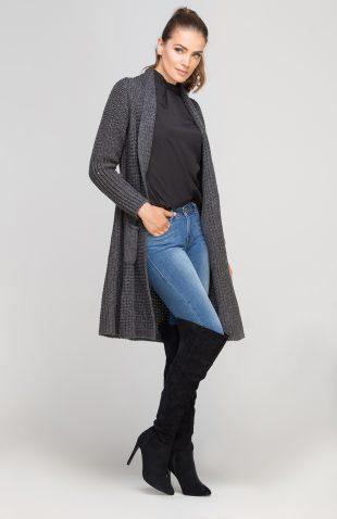 Ciepły długi sweter z grubej dzianiny grafit