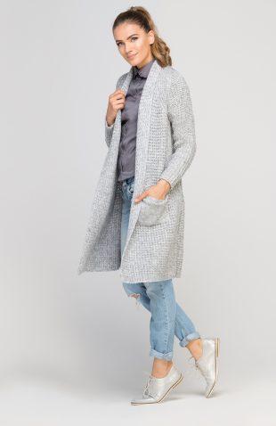 Ciepły długi sweter z grubej dzianiny szary