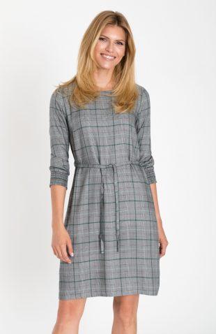 Elegancka sukienka do biura z motywem kraty