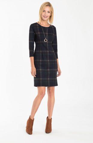 Dopasowana sukienka do kolan z motywem kraty