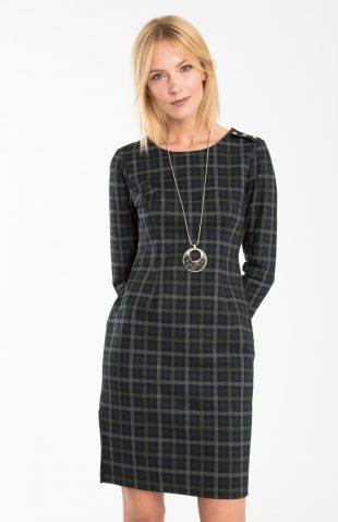 Ołówkowa dopasowana sukienka w drobną kratę