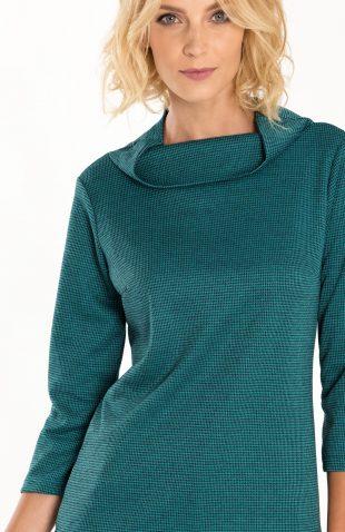 Bluzka dzianinowa z półgolfem w pepitkę zielona