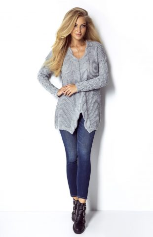 Ciepły sweter tunika o grubym splocie z warkoczami