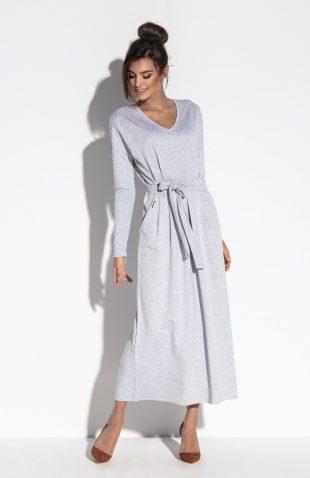 Sukienka maxi z długim rękawem i z paskiem