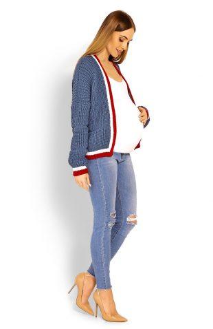 Ciepły krótki sweter ciążowy z szerokimi rękawami niebieski