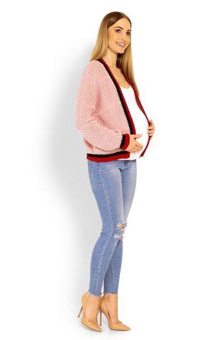 Ciepły krótki sweter ciążowy z szerokimi rękawami brudny róż