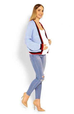 Ciepły krótki sweter ciążowy z szerokimi rękawami błękit
