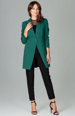 Elegancki długi żakiet zapinany na guzik zielony