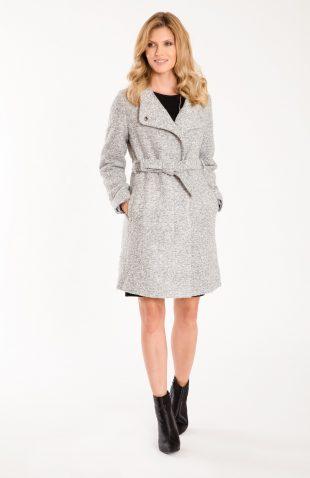 Elegancki płaszcz z paskiem i z podszewką szary