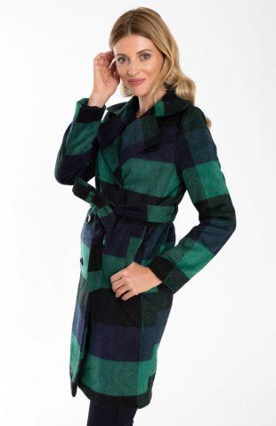 Elegancki dwurzędowy płaszcz w kratę z paskiem, z nowej kolekcji jesień 2018. Ciepły, elegancki płaszcz z praktycznymi kieszeniami,
