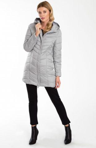 Ciepły pikowany płaszcz z kapturem szary