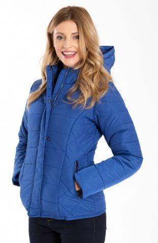 Ciepła krótka pikowana kurtka z kapturem niebieska