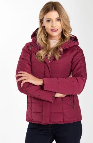 Ciepła krótka pikowana kurtka z kapturem bordowa