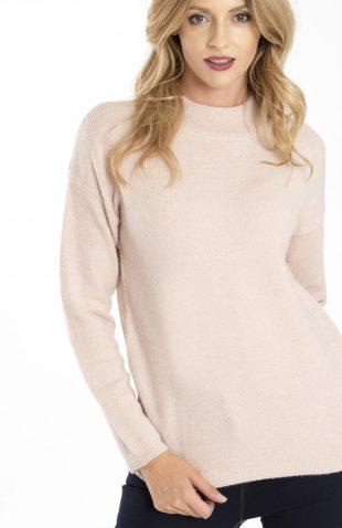 Miękki ciepły sweter ze stójką różowy