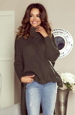 Ciepły sweter z golfem i z przedłużanym tyłem oliwka