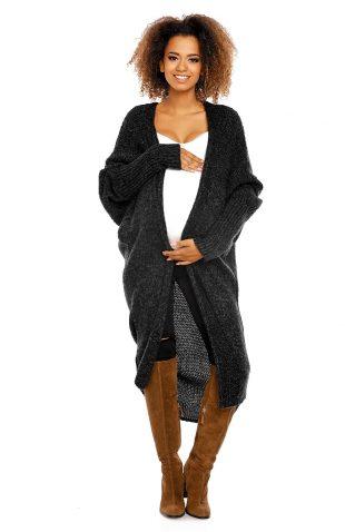 Puszysty długi sweter narzutka oversize czarny
