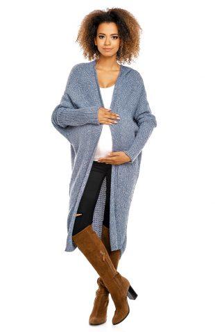 Puszysty długi sweter narzutka oversize niebieski