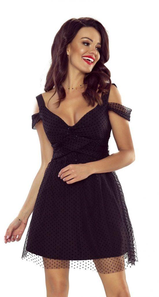 Szyfonowa rozkloszowana sukienka wieczorowa mini czarna