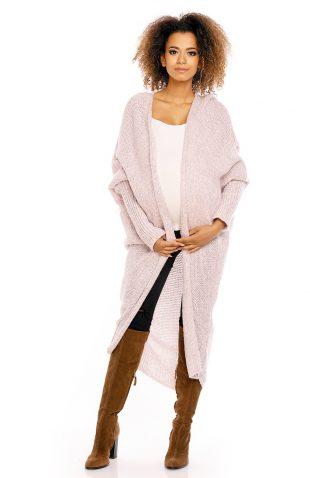 Puszysty długi sweter narzutka oversize różowy
