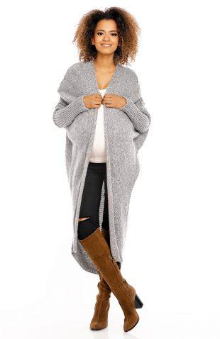 Puszysty długi sweter narzutka oversize szary