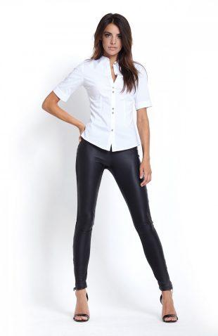 Dopasowane spodnie rurki ze skóry ekologicznej czarne