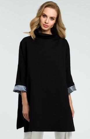 Elegancka bawełniana bluza z golfem czarna
