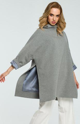 Elegancka bawełniana bluza z golfem szara