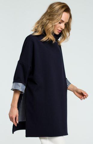 Elegancka bawełniana bluza z golfem granat