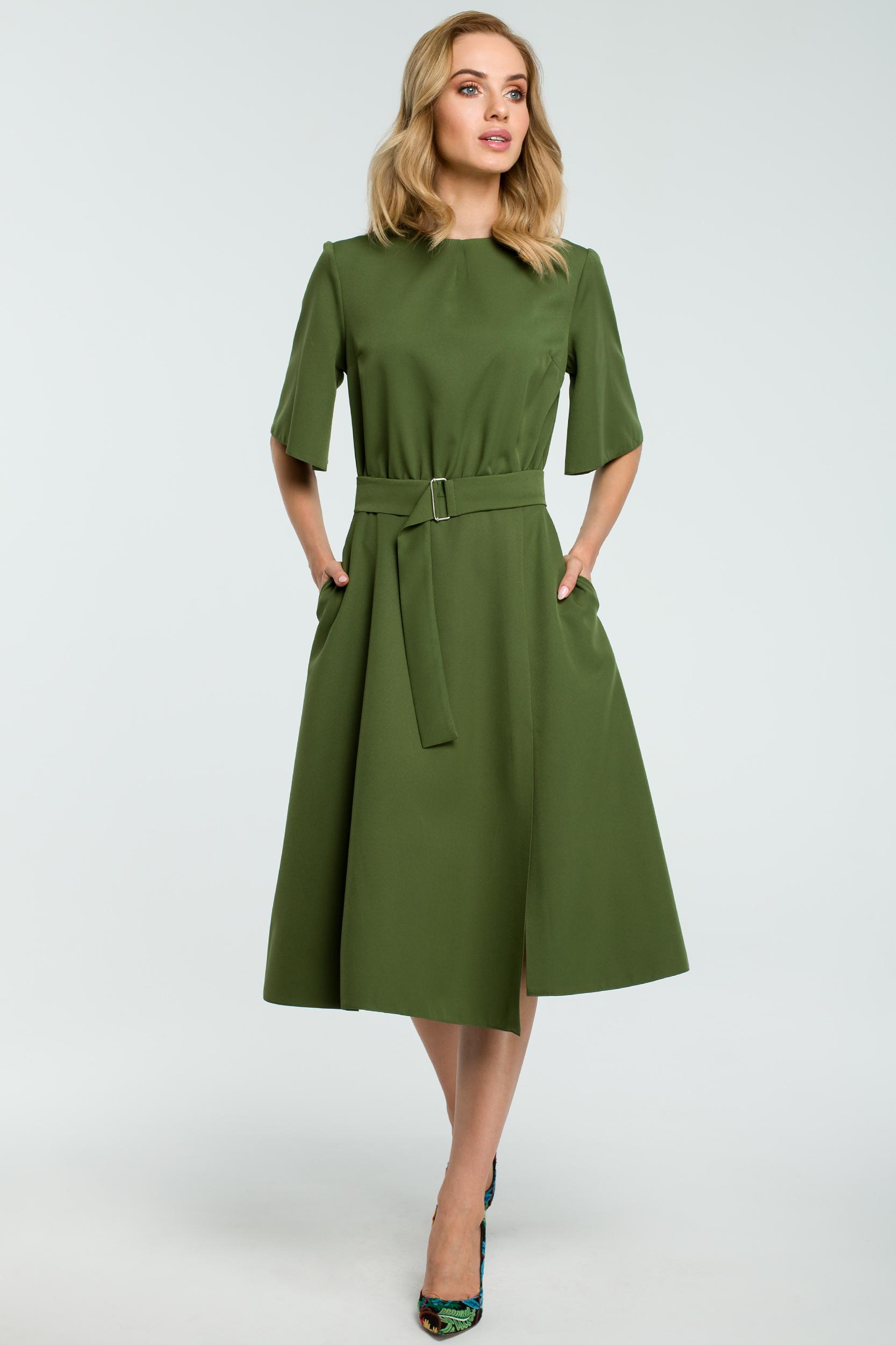 c8d3dd0f7c Elegancka sukienka do biura midi z paskiem - wysyłka kurierem od 5