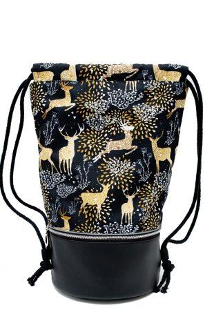 Plecak worek z okrągłym dnem czarny w złote jelenie