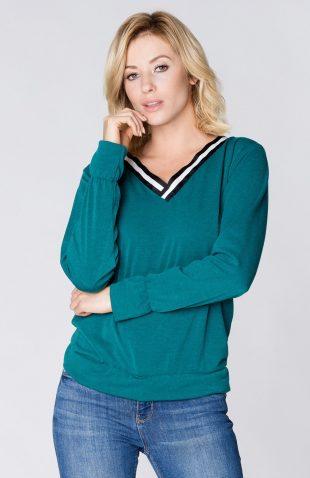Bluzka swetrowa z dzianiny w serek zielona