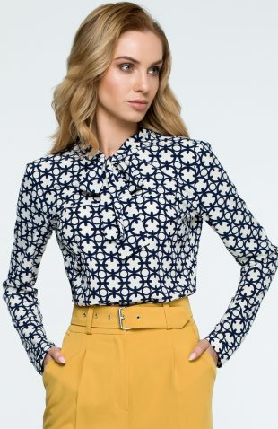 Elegancka bluzka z nadrukiem i z wiązanym dekoltem