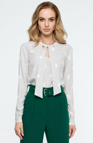Elegancka bluzka z nadrukiem w paski i z wiązanym dekoltem