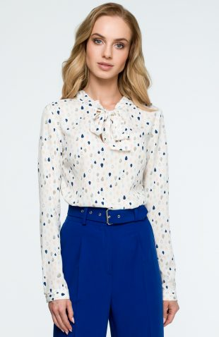 Elegancka bluzka z nadrukiem łezki i z wiązanym dekoltem