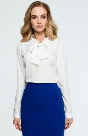 Elegancka bluzka koszulowa z wiązanym dekoltem ecru