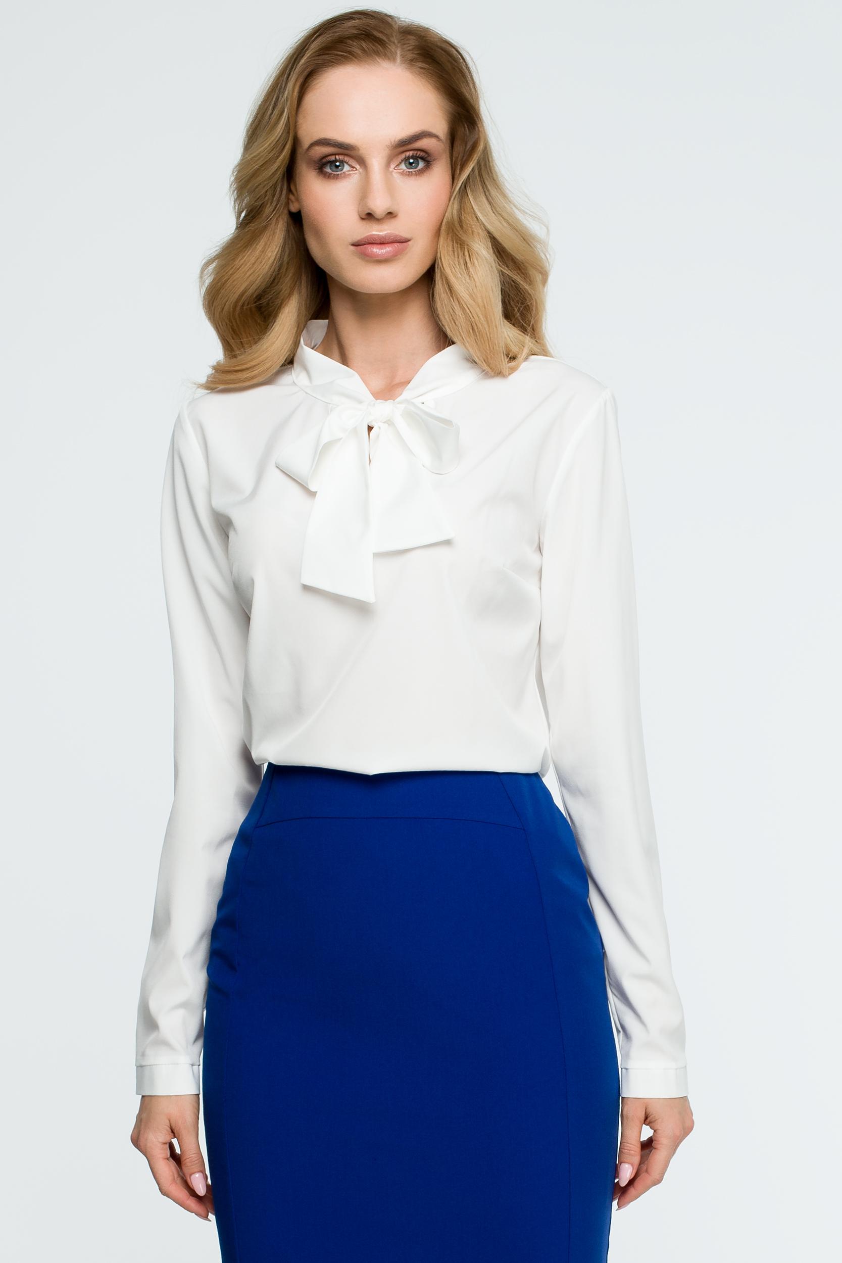 0890d801806a0d Elegancka bluzka koszulowa z wiązanym dekoltem ecru - szyta w Polsce