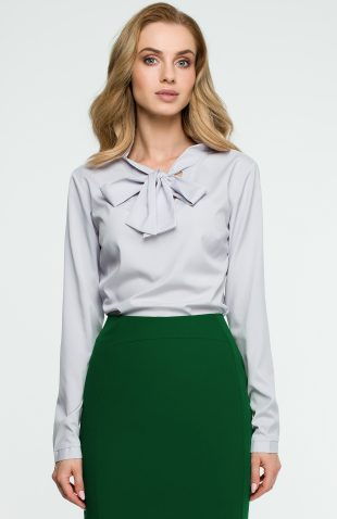 Elegancka bluzka koszulowa z wiązanym dekoltem szara
