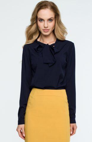 Elegancka bluzka koszulowa z wiązanym dekoltem granatowa
