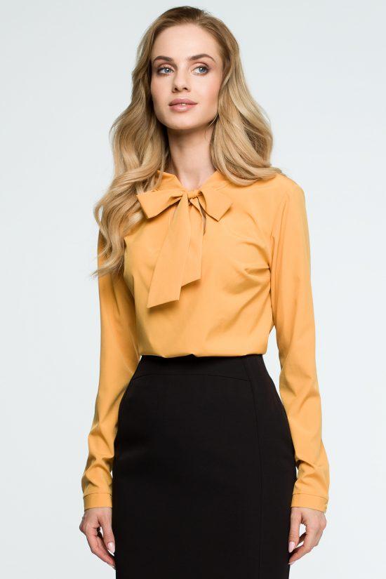 Elegancka bluzka koszulowa z wiązanym dekoltem żółta