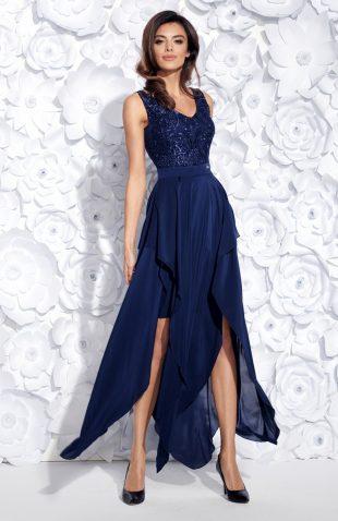 Wieczorowa sukienka maxi bez rękawów haftowana granatowa