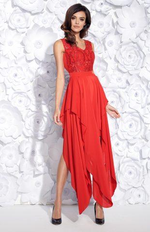 Wieczorowa sukienka maxi bez rękawów haftowana czerwona