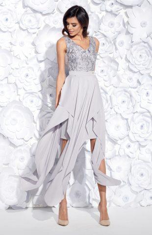 Wieczorowa sukienka maxi bez rękawów haftowana szara