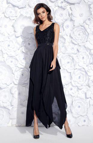 Wieczorowa sukienka maxi bez rękawów haftowana czarna