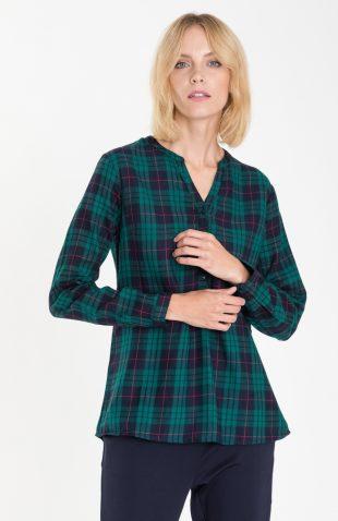 Bawełniana bluzka casual w kratę zielona