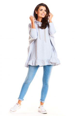 Ciepła bluza oversize z kapturem i z falbanką