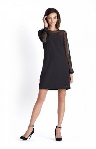 Trapezowa elegancka sukienka wizytowa nad kolano
