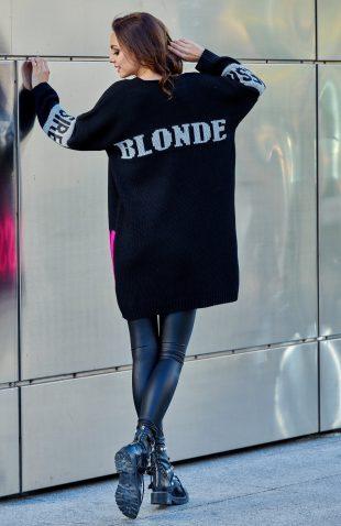 Ciepły długi kardigan oversize dla blondynek