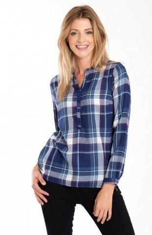 Bawełniana bluzka casual w kratę niebieska